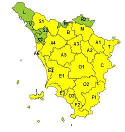 Toscana Rischio Vento 13 Febbraio 2021