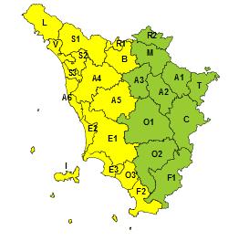 Toscana Allerta Meteo Gialla - Rischio Idrogeologico